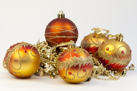 High resolution image.  Christmas spheres with a pattern on a white background.