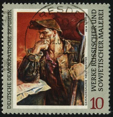 GERMANY- CIRCA 1969: stamp printed by Germany, shows Steelwoker, by Serov, circa 1969.