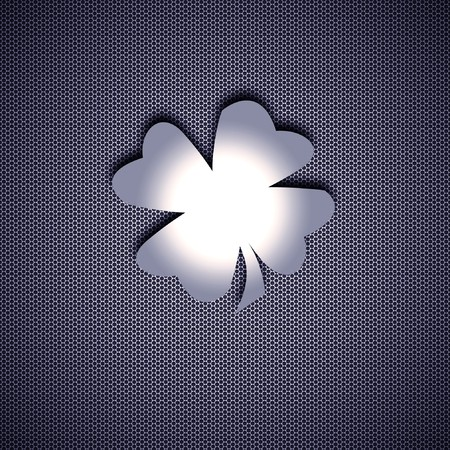 quarterfoil: Clover of four leaves isolated on metal background. Steel background.