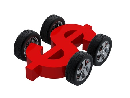 dollar signs: 3d symbol dollar and wheel. High resolution image. 3d illustration over  white backgrounds.