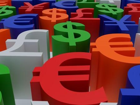 Currency symbols. 3d illustration. High resolution image. Symbols multi-coloured. Stock Illustration - 7837624