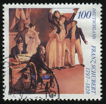 composer: GERMANY- CIRCA 1997: stamp printed by Germany, shows Franz Schubert, Composer, circa 1997.