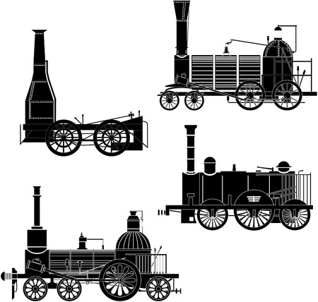 steam iron: locomotives.  Illustration