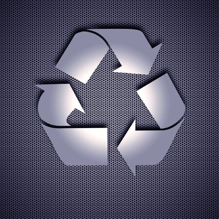 Recycle symbol isolated on metal background. Steel background. Environmental logo. Stock Photo - 8013526