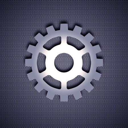 Cogwheel symbol with 3d effect, symbol isolated on metal background. Steel background. Stock Photo - 8013528