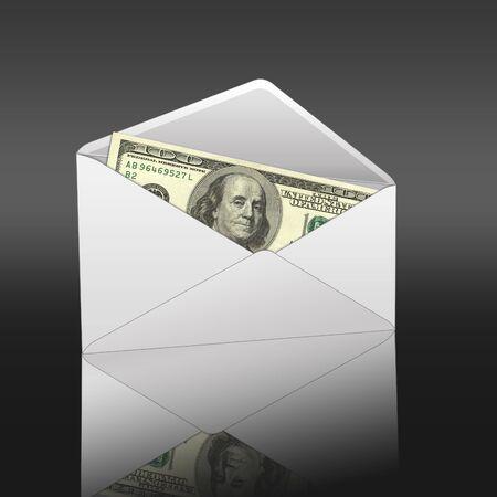 Banknotes offered in Envelope. High resolution image.  3d rendered illustration. illustration