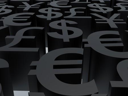 Währungssymbole. 3D Abbildung. Hochauflösendes Bild. Symbole schwarz. Standard-Bild - 8013448