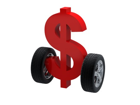 3d symbol dollar and wheel. High resolution image. 3d illustration over  white backgrounds.