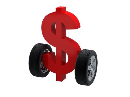 3D Symbol Dollar und Rad. Hochauflösendes Bild. 3D Abbildung über weiße Hintergründe. Standard-Bild - 8013423