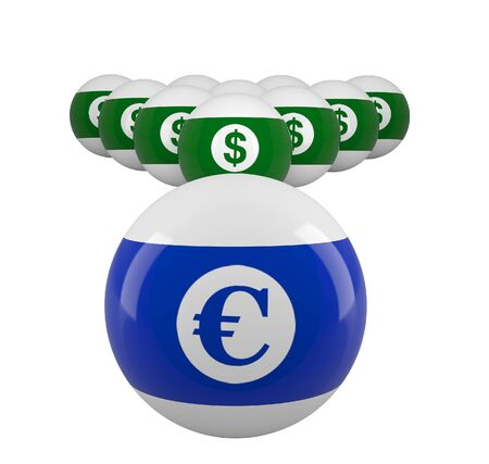 High resolution image. 3d render. Symbol dollar, Euro and ball. photo