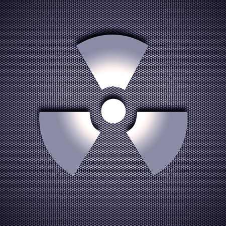 Atomic symbol with 3d effect, symbol isolated on metal background. Steel background. photo