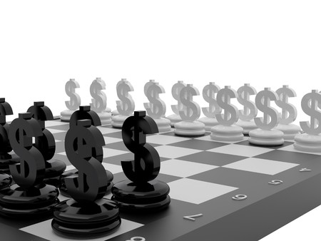 Chessboard with Euro and Dollar currency symbols. High resolution image. photo