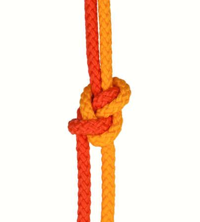 firmeza: nudo fuerte atado con una cuerda aislada en un fondo blanco