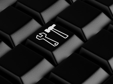 High resolution image.  3d rendered illustration.  Black keyboard with tools symbol. illustration