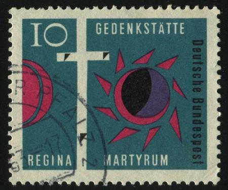golgotha: GERMANY- CIRCA 1976: stamp printed by Germany, shows Cross of Golgotha Darkened Sun and Moon, circa 1976.