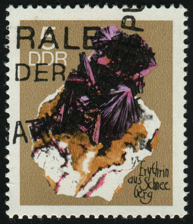 schneeberg: GERMANY- CIRCA 1969: stamp printed by Germany, shows Erythrite from Schneeberg, circa 1969.
