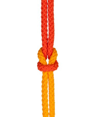 firmness: strong knot tied by a rope isolated on a white background