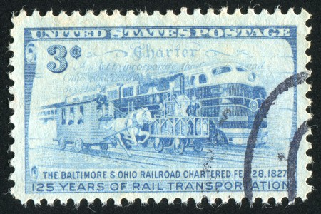 UNITED STATES - CIRCA 1952: stamp printed by United states, shows Charter and Three Stages of Rail Transportation, circa 1952 photo