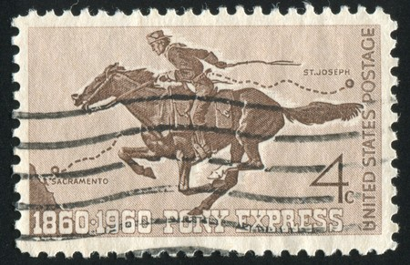 UNITED STATES - CIRCA 1960: stamp printed by United states, shows ony Express Rider, circa 1960 photo