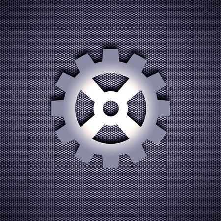 Cogwheel symbol with 3d effect, symbol isolated on metal background. Steel background. photo