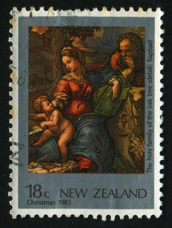 NEW ZEALAND - CIRCA 1983: Holy family of the Oak Tree, by Raphael, circa 1983. photo