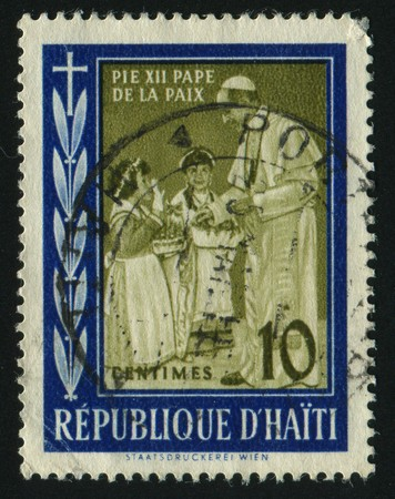 pius: HAITI - CIRCA 1959: Pope Pius XII and Children, circa 1959. Editorial