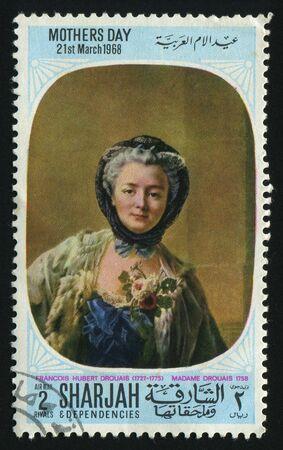 SHARJAH & DEPENDENCIES  - CIRCA 1968: Francois Hubert Drouais (1727-1775) Madame Drouais, circa 1968.