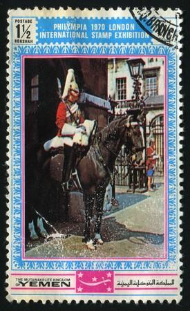 guardsman: YEMEN  - CIRCA 1970: The Philympia 1970 London international stamp exhibition, circa 1970.