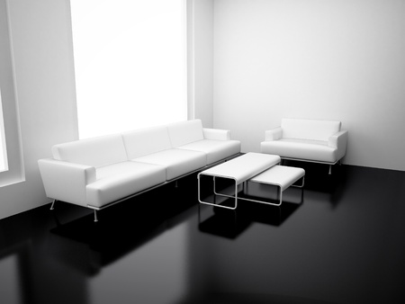 Modern apartment with living room. High resolution image. 3d render.