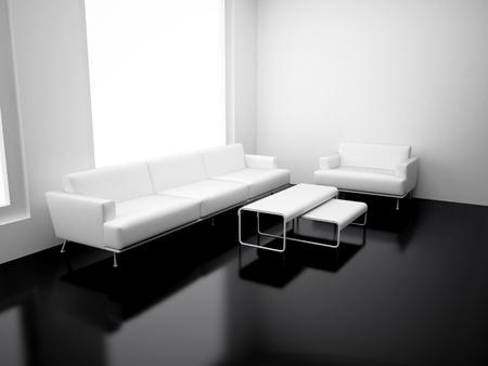 Modernes Apartment mit Wohnzimmer. Hochauflösendes Bild. 3D Render. Standard-Bild - 8249373
