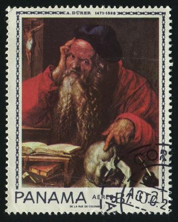 printmaker: PANAMA - CIRCA 1972: Albrecht Dürer was a German painter, printmaker and theorist from Nuremberg, circa 1972. Editorial