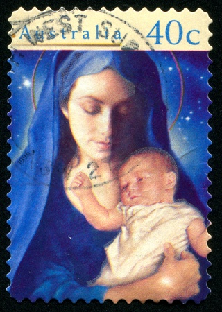 madonna: AUSTRALIA - CIRCA 1996: stamp printed by Australia, shows Madonna and Child, circa 1996