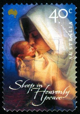 madona: AUSTRALIA - CIRCA 2000: sello impreso por Australia, muestra la Virgen y el ni�o, alrededor del a�o 2000