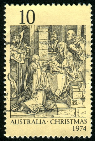 durer: AUSTRALIA - CIRCA 1974: stamp printed by Australia, shows Adoration of the Kings, by Durer, circa 1974 Stock Photo
