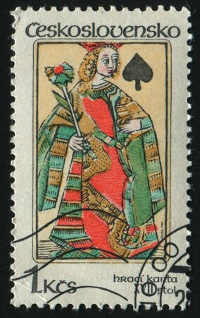 CZECHOSLOVAKIA - CIRCA 1984: Queen of spades, circa 1984. Stock Photo - 8428526