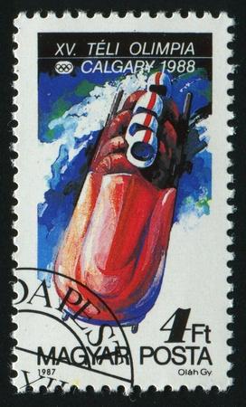 ancient olympic games: HUNGARY - CIRCA 1987: Winter Olympics Calgary, circa 1987.