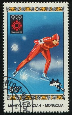 MONGOLIA - CIRCA 1984: 1984 Winter Olympics. Speed skating, circa 1984.