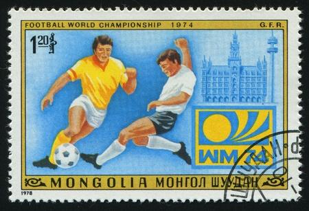 MONGOLIAN - CIRCA 1978: Vaus Soccer Scenes, Munich Germany, 1974, circa 1978. Stock Photo - 8457327