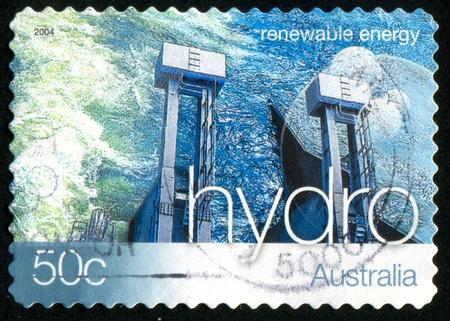 hydroelectric energy: AUSTRALIA - CIRCA 2004: stamp printed by Australia, shows Renewable Energy, Hydroelectric energy, circa 2004
