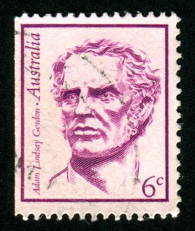 lindsay: AUSTRALIA - CIRCA 1970: stamp printed by Australia, shows Adam Lindsay Gordon, circa 1970
