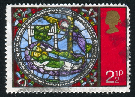 window seal: GREAT BRITAIN - CIRCA 1971: stamp printed by Great Britain, shows Dream of the Kings, Glass Windows, circa 1971 Stock Photo