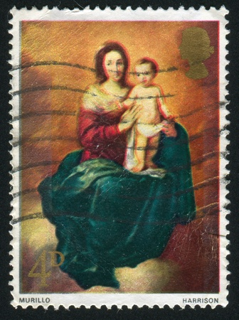 GREAT BRITAIN - CIRCA 1967: stamp printed by Great Britain, shows Madonna and Child, by Murillo, circa 1967 photo