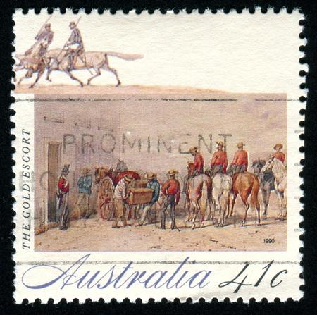 AUSTRALIA - CIRCA 1990: stamp printed by Australia, shows The Gold Rush, circa 1990 photo