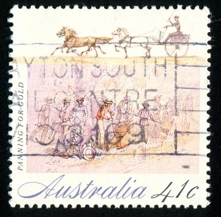 gold rush: AUSTRALIA - CIRCA 1990: stamp printed by Australia, shows The Gold Rush, circa 1990