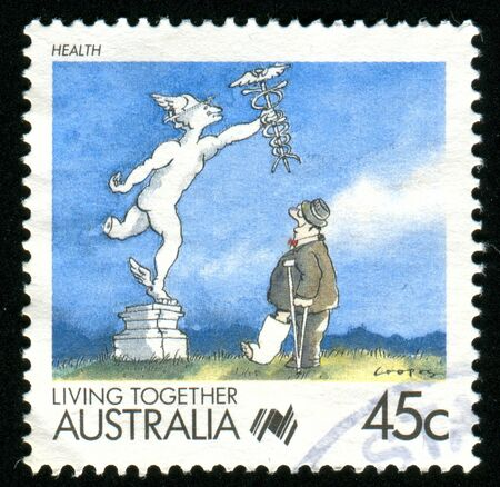 health cartoons: AUSTRALIA - CIRCA 1988: stamp printed by Australia, shows Cartoons, Health, circa 1988 Editorial