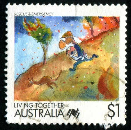AUSTRALIA - CIRCA 1988: stamp printed by Australia, shows Cartoons, Rescue and emergency services, circa 1988