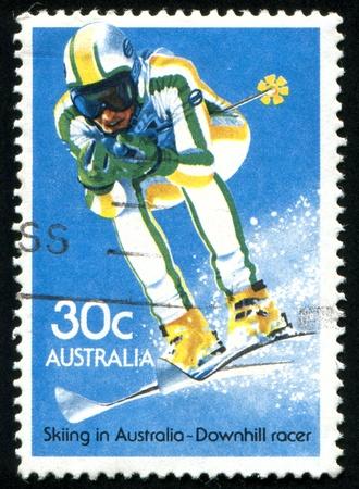 slalom: AUSTRALIA - OK. 1984: pieczęć drukowane przez Australię, slalomie pokazuje, około 1984