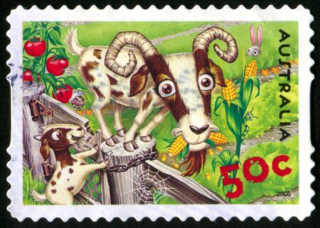 letter head: AUSTRALIA - CIRCA 2005: stamp printed by Australia, shows Goats and rabbit, circa 2005
