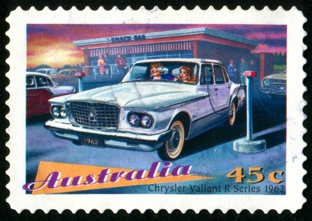 AUSTRALIA - CIRCA 1997: stamp printed by Australia, shows Classic Cars, Chrysler Valiant, circa 1997 photo