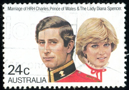 prince charles of england: AUSTRALIA - CIRCA 1981: stamp printed by Australia, shows Prince Charles and Lady Diana, circa 1981